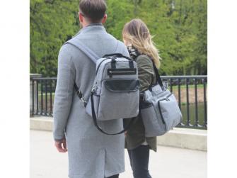 Přebalovací batoh a taška na kočárek 2v1 DUAL, grey melange 13