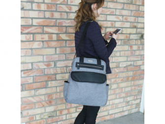 Přebalovací batoh a taška na kočárek 2v1 DUAL, grey melange 15