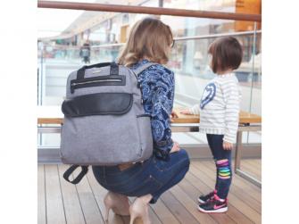 Přebalovací batoh a taška na kočárek 2v1 DUAL, grey melange 2