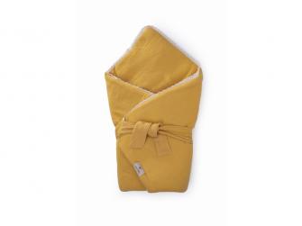 Mušelínová zavinovačka s páskem a ozdobným okrajem, mimosa-krajka