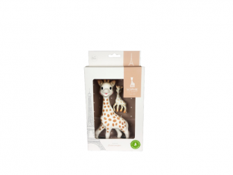 Sada hračka žirafa Sophie s přívěškem na klíče