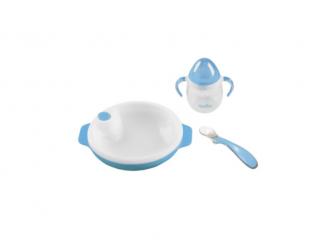 Set termotalířku s silikonovou lžičkou a hrnečkem, Pastel blue