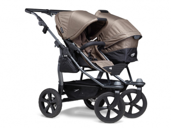 Duo combi push chair - air chamber wheel brown 2