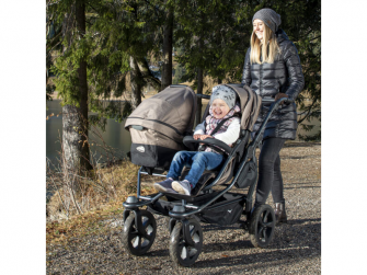 Duo combi push chair - air chamber wheel brown 5