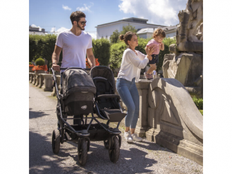 Duo combi push chair - air chamber wheel brown 7