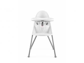 Dětská vysoká židle s pultíkem a pásy White - bílá