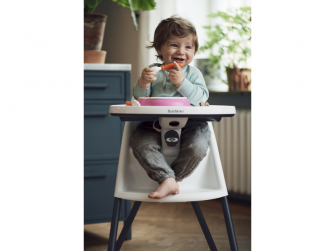 Dětská vysoká židle s pultíkem a pásy White - bílá 4