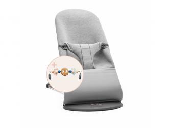 lehátko Bliss Light Grey 3D Jersey s hračkou očička Googly Eyes Pastels