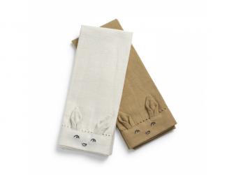 Látkové bavlněné ubrousky Lily White/White /Warm sand, 2ks
