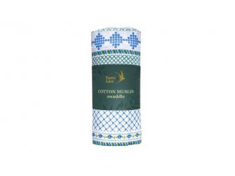 Bavlněná mušelínová plena Fancywork Blue 120x120 cm