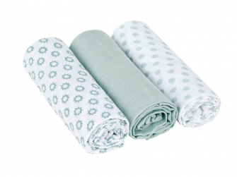 Swaddle blanket 85x85 Little Chums Star light mint