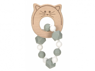 Kousátko Bracelet Wood/Silicone Little Chums cat