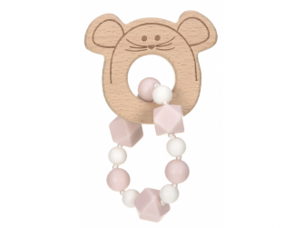 Kousátko Bracelet Wood/Silicone Little Chums mouse