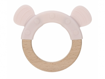 Kousátko Ring Wood/Silicone Little Chums mouse