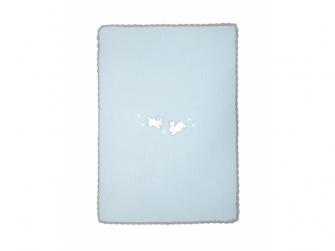 Pletená deka Králíčci modrá 2