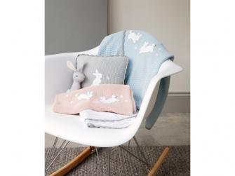 Pletená deka Králíčci modrá 3