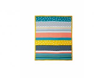 Pletená deka různobarevné pruhy 2