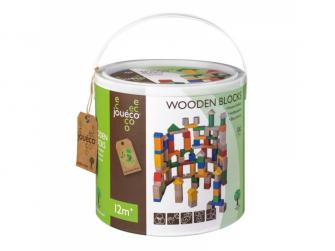 Dřevěné kostky v kybíku 100ks 12m+ 3
