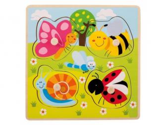 Dřevěné puzzle s úchyty Zvířátka na louce 12m+