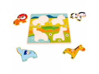 Dřevěné puzzle s úchyty Zvířátka v ZOO 12m+ 2