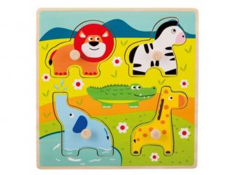 Dřevěné puzzle s úchyty Zvířátka v ZOO 12m+