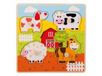 Dřevěné puzzle s úchyty Domácí zvířátka 12m+
