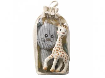 Set plyšová hračka kocour Lazare + žirafa Sophie