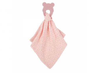 Kousátko silikonové bez BPA s bavlněnou dečkou 28 x 28 cm pink
