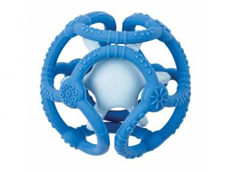 Kousátko silikonové míč 2v1 bez BPA 10 cm modrá