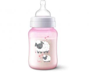 Láhev Anti-colic 260 ml, růžová ovečka