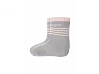 Ponožky tenké protiskluz Outlast® 20-24, tm.šedá/sv.růžová