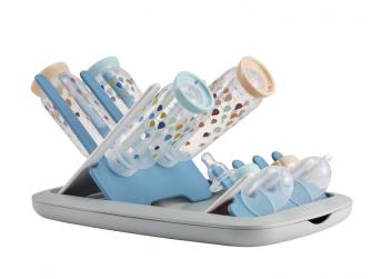 Skládací odkapávač kojeneckých lahví šedá/modrá 2