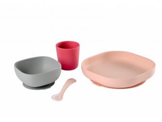 Jídelní sada silikonová 4-dílná Pink 2