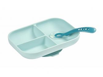 Talíř silikonový dělený s přísavkou + lžička Blue 2
