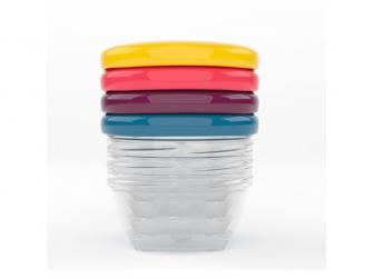 barevné misky s víčky 120ml - sada 4ks
