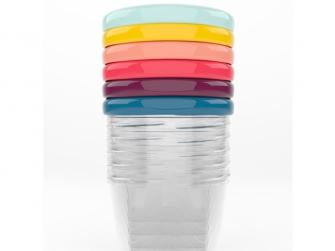 barevné misky s víčky 250ml - sada 6ks