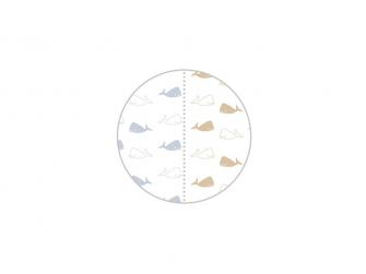 HOPPA Duopack: 2x osuška 120cm x 120cm whales soft blue - stone 3
