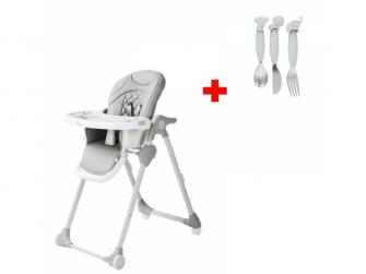 Jídelní židlička B-DINNER CHAIR WHEELY Grey + DÁREK ZDARMA
