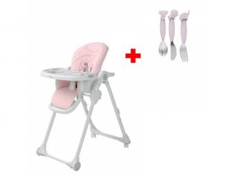 Jídelní židlička B-DINNER CHAIR WHEELY Pink + DÁREK ZDARMA