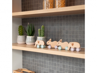 dřevěná hračka B-WOODY Rabbit Pastel Pink 3