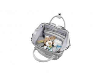 Přebalovací taška-batoh Mani, Dove grey leatherette 6