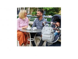 Přebalovací taška-batoh Mani, Dove grey leatherette 8