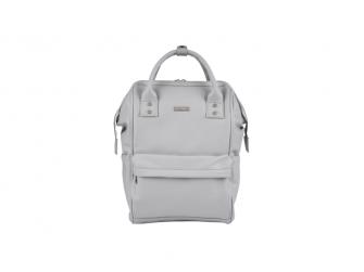 Přebalovací taška-batoh Mani, Dove grey leatherette