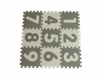 Hrací podložka puzzle Grey s čísly 90x90 cm