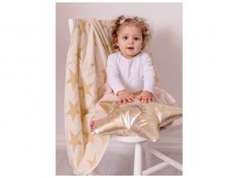 Pletená deka - zlaté hvězdy 3
