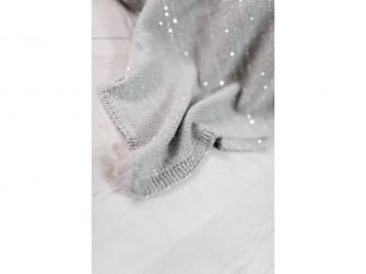 Pletená deka - stříbrná 4