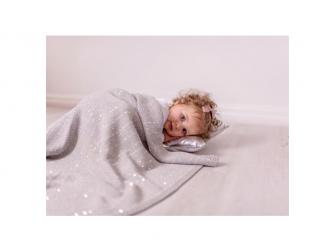 Pletená deka - stříbrná 2