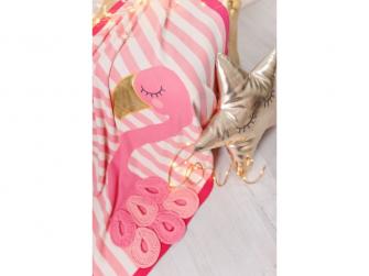Pletená deka - plameňáci 4