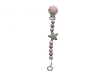 Klip na dudlík - hvězda, růžový