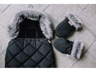 Rukavice s kožešinou na kočárek, black 2